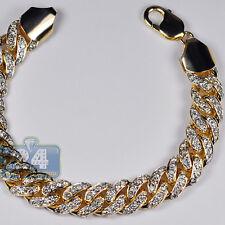"Mens Diamond Miami Cuban Link Bracelet Solid 10K Yellow Gold 7.55 ct 13 mm 8.75"""