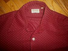 mens vtg Excello Polyknit Shirt Mod 60s 70s Maroon Damschroders Toledo Geometric