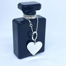 Sterling silver heart necklace, large hammered silver heart on 45cm ball chain