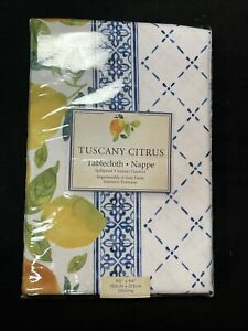 Benson Mills Indoor Outdoor Spillproof Tablecloth Tuscany Citrus Oblong 60x 84