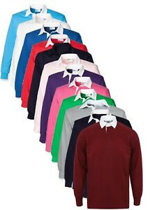 Plain BLUE GREEN BLACK RED PURPLE Cotton Long Sleeve Rugby Shirt No Logo S - 5XL