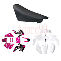 White BODY PLASTIC & Pink DECALS SEAT HONDA CRF50 SSR SDG 107 110 125 PIT BIKE