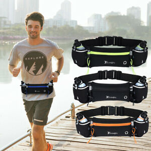 Running Belt With Water Bottle Waist Pack Zip Pockets for Camping Hiking Jogging