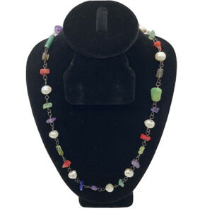 SILPADA Sterling Silver GEMSTONE Toggle Clasp Necklace RETIRED Pearl Lapis Coral