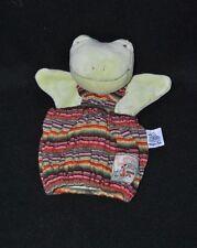 Peluche doudou marionnette grenouille MOULIN ROTY la grande famille tricot TTBE