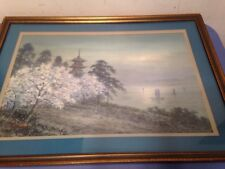 Antique Japanese Watercolor Painting Signed T B Takata
