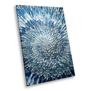 Blue Grey Spiral Cool Portrait Abstract Canvas Wall Art Large Picture Prints