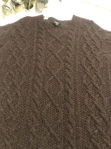 J. Crew Men's Medium Handknit 100% Lambswool Cable-Knit Brown Sweater