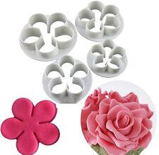 4Pcs Rose Flower Fondant Cookies Cutter Mold Sugarcraft Cake Decorating Tools CY