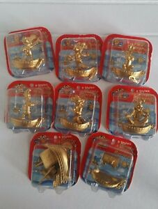 Disney Mickey Mouse diecast gold pirate warship figures set of 8 new