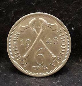 1948 Southern Rhodesia 6 pence, George VI, decent grade, KM-21 (SR48E)