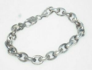 """Heavy Men's Sterling Silver 8"""" Thick Cable Chain Link Bracelet"""
