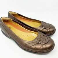 Clarks Unstructured Slip On Bronze Loafer Ballet Flats Women's Size 7.5M