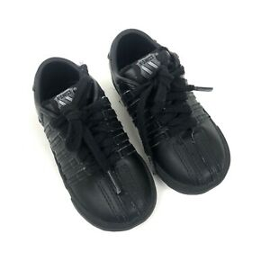 K-Swiss Infants Shoes Size 6 Classic Black On Black Leather Low Top Sneakers