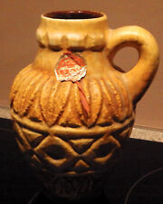 West German Pottery Bay 'relief' vase with handle 93-17 with original label VGC