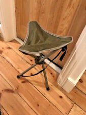 Folding Portable Tripod Camping Stool Chair Sage Green Steel Legs Canvas Seat