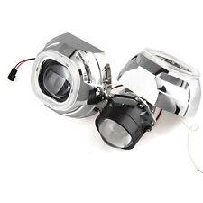 "2X 2.5"" Bi-Xenon H/L HID Projector Lens+Yellow Angel Eyes+3"" Shroud for H1 Bulb"