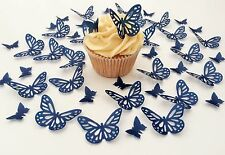 48 Edible Navy Blue Butterflies Pre Cut Wafer Cupcake Toppers