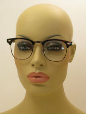 Vintage Inspired Classic Half Frame Square Clear Lens Brown Bronze Glasses