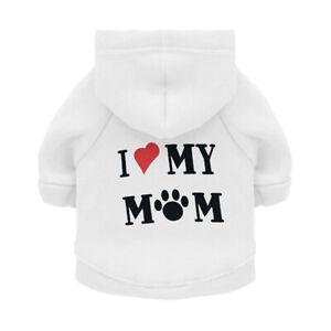 Pet Clothes I LOVE MOM Printed Dog Hoodies Puppy Cat Coat Jackets Sweatshirt