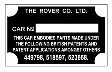 Land Rover Series 1 2 P3 P4 P5 P6 ID Tag rare repro all-blank-vin-chassis-plates