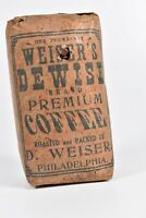 Rare Vintage 1890's Full One Pound Packaged DeWise Coffee Beans D. Wiser