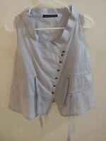 Le Jean de Marithe/ Francois Girbaud Sz XXS Top Slvless Blue Cotton/Silk Buttons