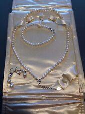 Vintage Stauer Genuine Pearl Set Necklace Bracelet Earrings 925~Sterling Silver