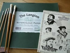 DALER-ROWNEY LANGTON WATERCOLOUR PAPER, SKETCH PAD AND 5 ARTISTS PAINTBRUSHES