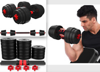 1 Pair 110LB Weight Dumbbell Set Adjustable Cap Gym Barbell Plates Body Workout