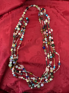 FLAWLESS Exquisite MIX Size & Color MULTI BEADS Assortment Five STRAND NECKLACE