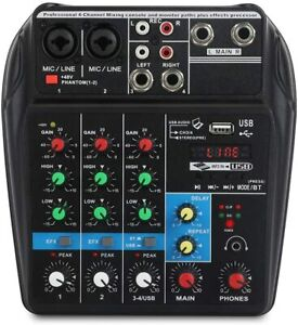 A4 4Channels Audio Mixer Sound Mixing Console with Bluetooth USB Record 48V Phan