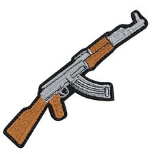 AK-47 Machine Gun DIY Iron On Embroidered Applique Patch