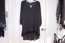 NEW Womens Maurices 2 Plus Gray 3/4 Sleeve Tunic Blouse SO SOFT!!!