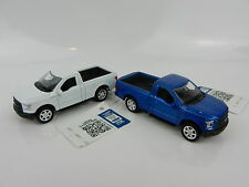 1:64 WELLY = 2015 Ford F150 Pickup Truck *SET OF 2* WHITE & BLUE *DIECAST* NEW!