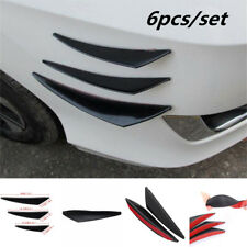 6Pc Black Car SUV Front Bumper Canards Lip Splitter Fins Canards Decal Universal