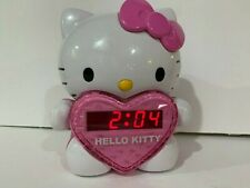 Hello Kitty AM/FM Projection Clock Radio Digital Tuning Battery Back-Up EUC