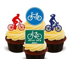 Cycling Bike Riding  Pack of 12 Edible Cup Cake Toppers, Fairy Bun Decorations
