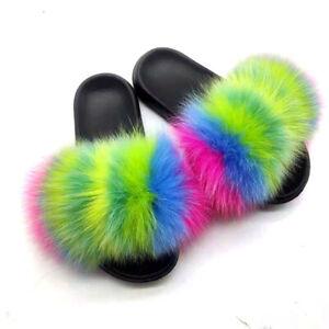Women's Real Fox Fur Slides Summer Slippers Sandals Indoor Outdoor Furry Shoes