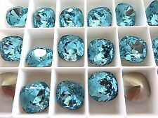 1 Light Turquoise Foiled Swarovski Crystal Square Cushion Cut  Stone 4470 12mm