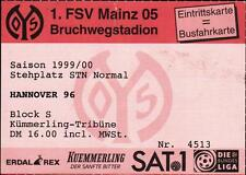 Ticket II. BL 99/00 1. FSV Mainz 05 - Hannover 96, 24.09.1999