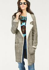 Aniston Knitted Coat Natural/Brown Size UK 16 rrp £59 DH093 KK 02