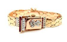 LADIES VINTAGE BULOVA 14K ROSE GOLD SWISS HANDWINDING DIAMOND/RUBY WATCH 19-16mm