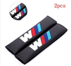 2PCS Carbon Fiber Car Seat Belt Cover Pad Shoulder Cushion Embroidery BMW ///M