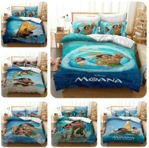2/3Pcs Moana Maui Cartoons Quilt Duvet Cover Kids Bedding Set Single Double Size
