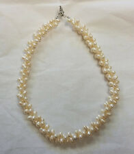 "Freshwater Pearl Genuine Oval Double Twist Ladies White 18"" Necklace"