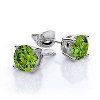 2.00 Ct Green Peridot Gemstone Silver Stud Earrings 6MM