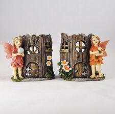 Fairy House Candle Holders Two Pair Tea Light Magic Pixie Elf Decorative 39623
