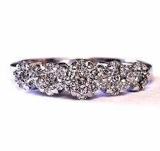 14k white gold .49ct SI1 G round womens diamond cluster ring 3.4g estate vintage