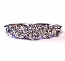 14k white gold .49ct SI1 G round womens diamond cluster ring 3.4g estate vintage
